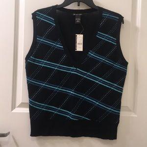 NY & Company | Argyle Print V-neck Vest L NWT